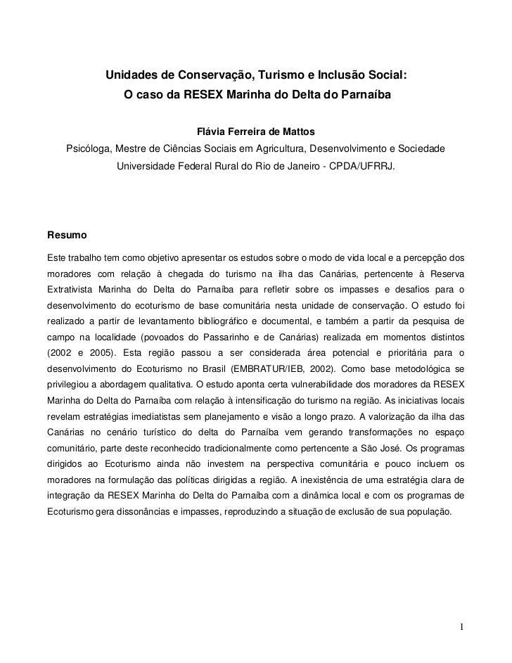 Unidades de Conservação, Turismo e Inclusão Social:                  O caso da RESEX Marinha do Delta do Parnaíba         ...