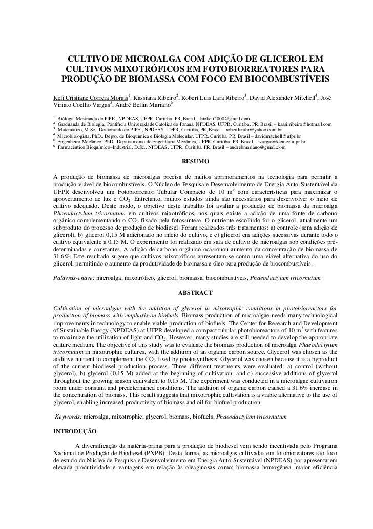 CULTIVO DE MICROALGA COM ADIÇÃO DE GLICEROL EM      CULTIVOS MIXOTRÓFICOS EM FOTOBIORREATORES PARA     PRODUÇÃO DE BIOMASS...
