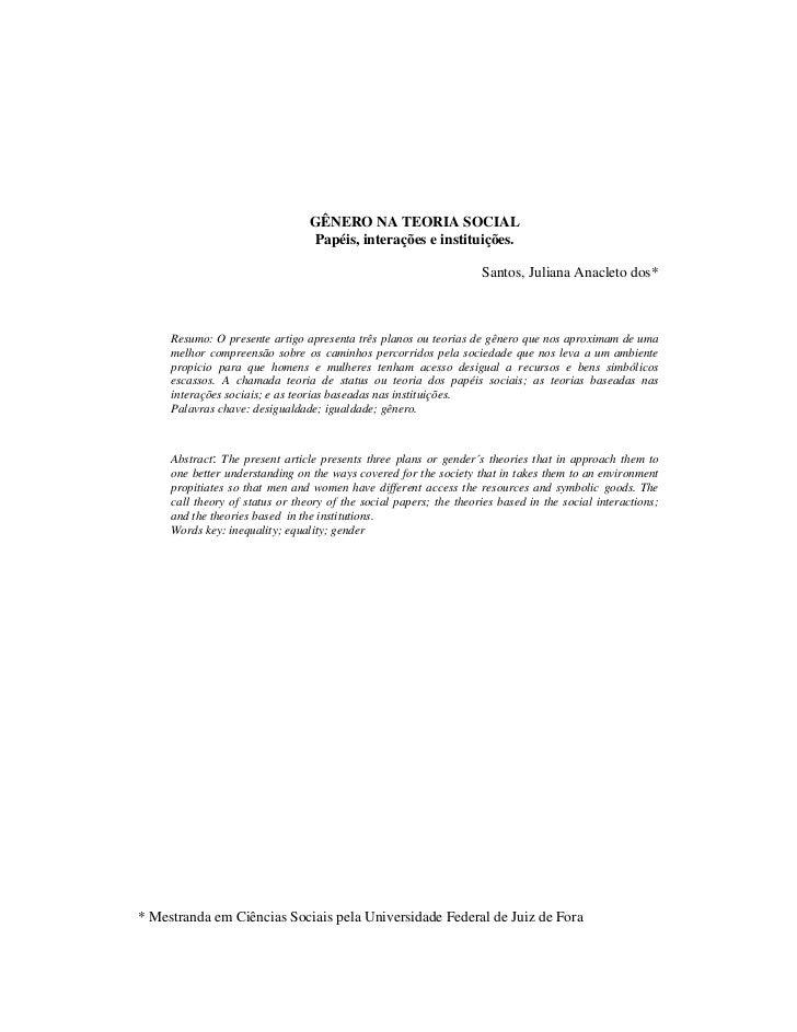 GÊNERO NA TEORIA SOCIAL                                 Papéis, interações e instituições.                                ...