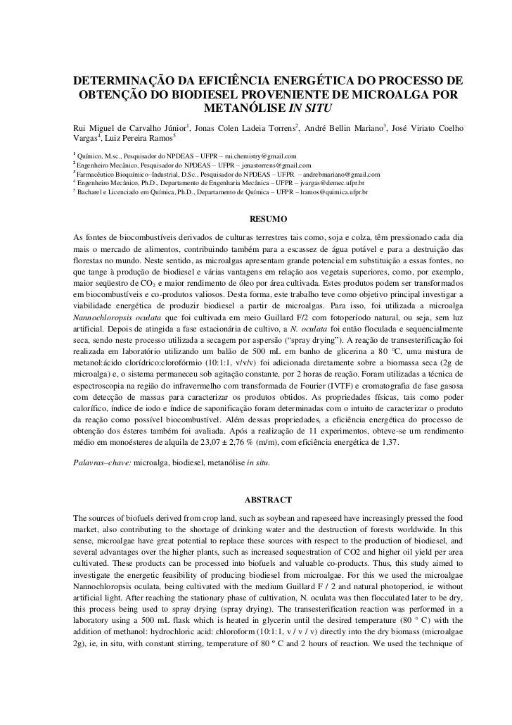 DETERMINAÇÃO DA EFICIÊNCIA ENERGÉTICA DO PROCESSO DE OBTENÇÃO DO BIODIESEL PROVENIENTE DE MICROALGA POR                 ME...
