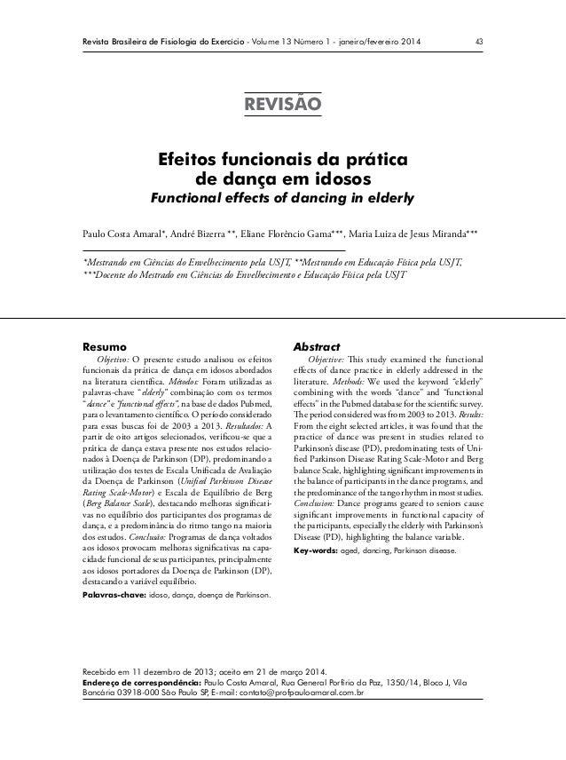 43Revista Brasileira de Fisiologia do Exercício - Volume 13 Número 1 - janeiro/fevereiro 2014 REVISÃO Efeitos funcionais d...