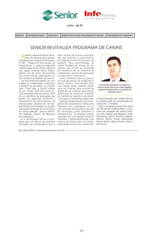 Junho - dia 30 SENIOR PARTNERS SALES 30/04/2014 SENIOR REVITALIZA PROGRAMA DE CANAIS PROGRAMA DE CANAIS/40 1/1
