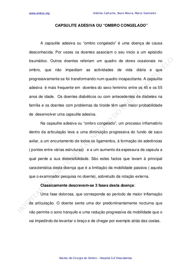 www.ombro.org António Cartucho, Nuno Moura, Marco Sarmento Núcleo de Cirurgia do Ombro - Hospital Cuf Descobertas CAPSULIT...