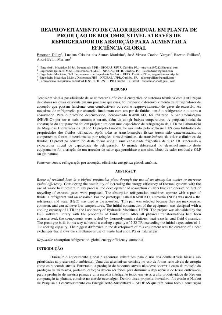 REAPROVEITAMENTO DE CALOR RESIDUAL EM PLANTA DE         PRODUÇÃO DE BIOCOMBUSTÍVEL ATRAVÉS DE       REFRIGERADOR DE ABSORÇ...
