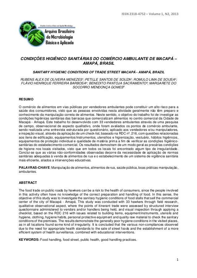 ISSN 2318-4752 – Volume 1, N2, 2013  CONDIÇÕES HIGIÊNICO SANITÁRIAS DO COMÉRCIO AMBULANTE DE MACAPÁ –  1  AMAPÁ, BRASIL  S...