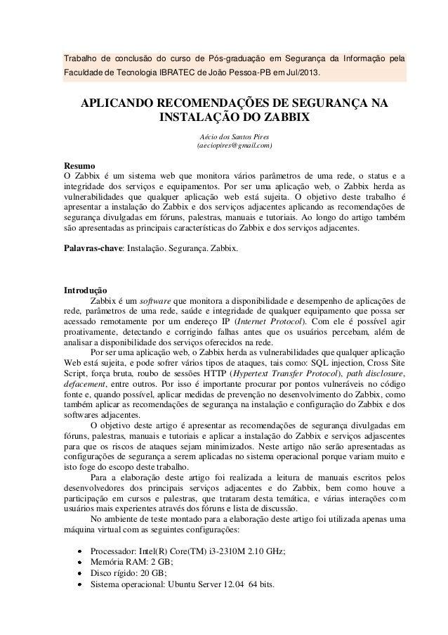 Trabalho de conclusão do curso de Pós-graduação em Segurança da Informação pela Faculdade de Tecnologia IBRATEC de João Pe...