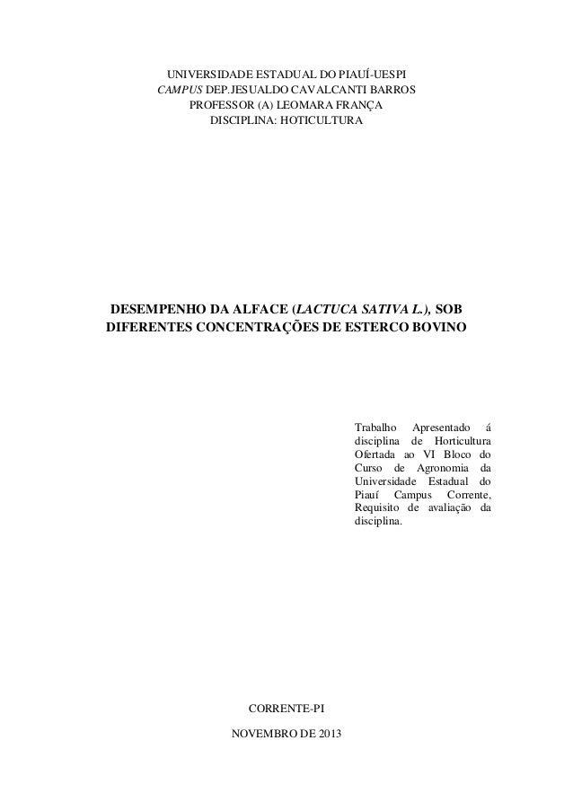 UNIVERSIDADE ESTADUAL DO PIAUÍ-UESPI CAMPUS DEP.JESUALDO CAVALCANTI BARROS PROFESSOR (A) LEOMARA FRANÇA DISCIPLINA: HOTICU...