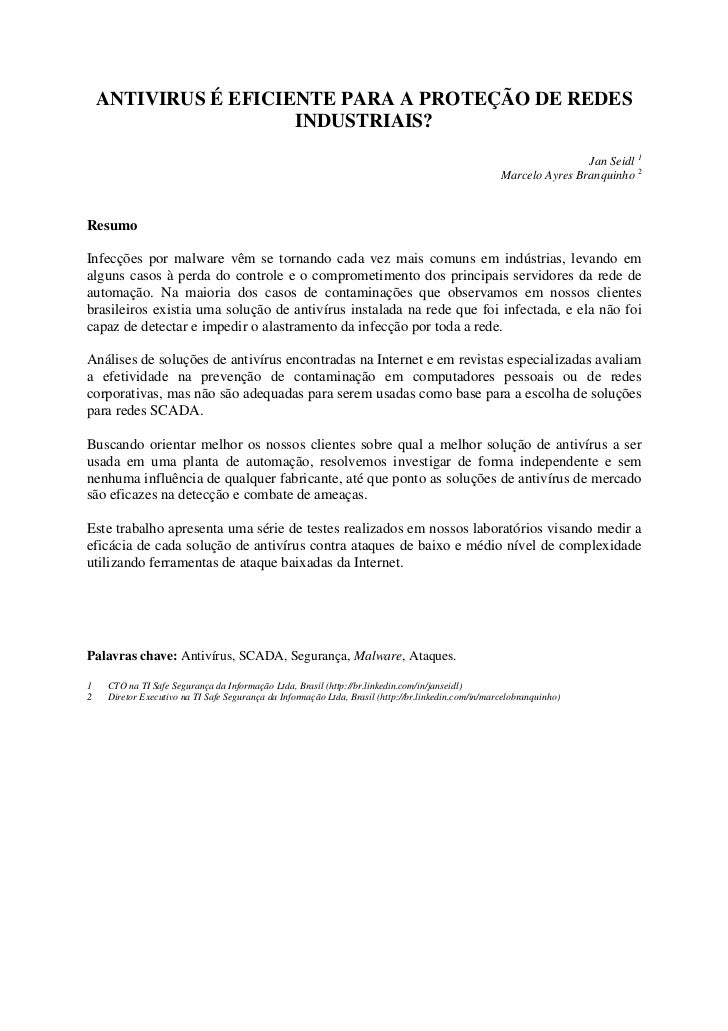ANTIVIRUS É EFICIENTE PARA A PROTEÇÃO DE REDES                      INDUSTRIAIS?                                          ...