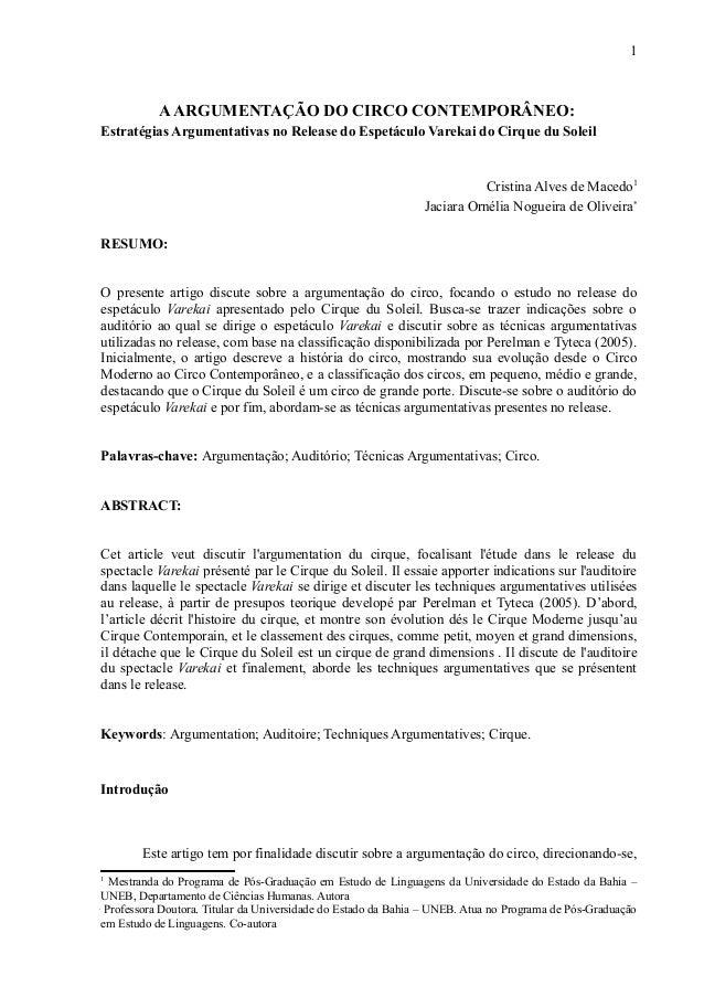 1  A ARGUMENTAÇÃO DO CIRCO CONTEMPORÂNEO:  Estratégias Argumentativas no Release do Espetáculo Varekai do Cirque du Soleil...