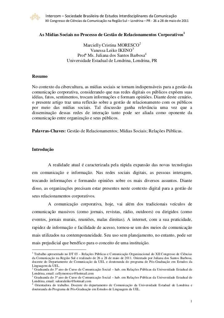 Intercom – Sociedade Brasileira de Estudos Interdisciplinares da Comunicação         XII Congresso de Ciências da Comunica...