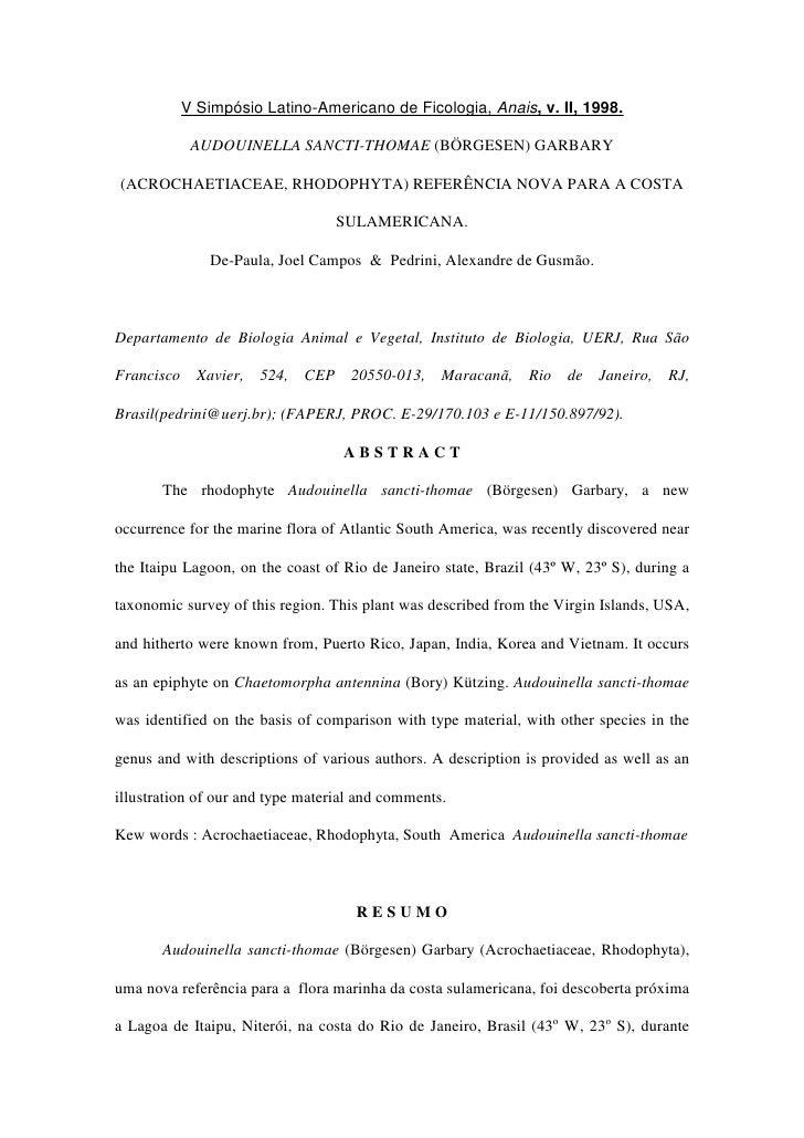 V Simpósio Latino-Americano de Ficologia, Anais, v. II, 1998.               AUDOUINELLA SANCTI-THOMAE (BÖRGESEN) GARBARY  ...