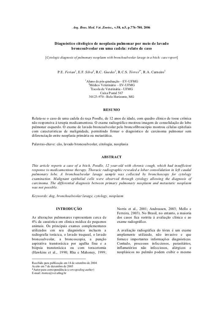 Arq. Bras. Med. Vet. Zootec., v.58, n.5, p.776-780, 2006                 Diagnóstico citológico de neoplasia pulmonar por ...