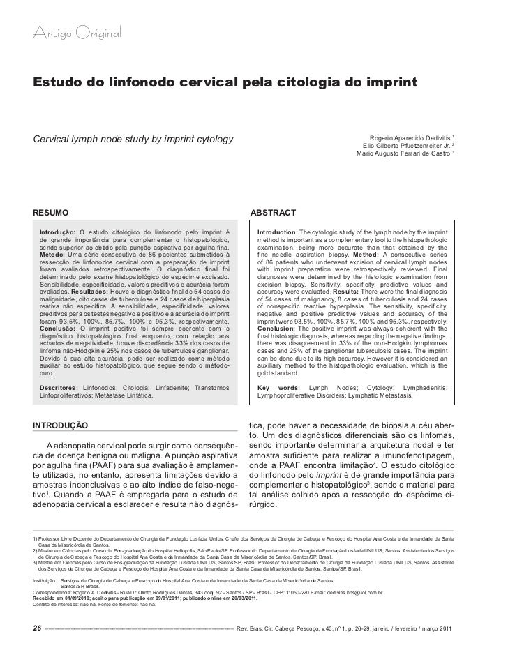 Artigo OriginalEstudo do linfonodo cervical pela citologia do imprintCervical lymph node study by imprint cytology        ...