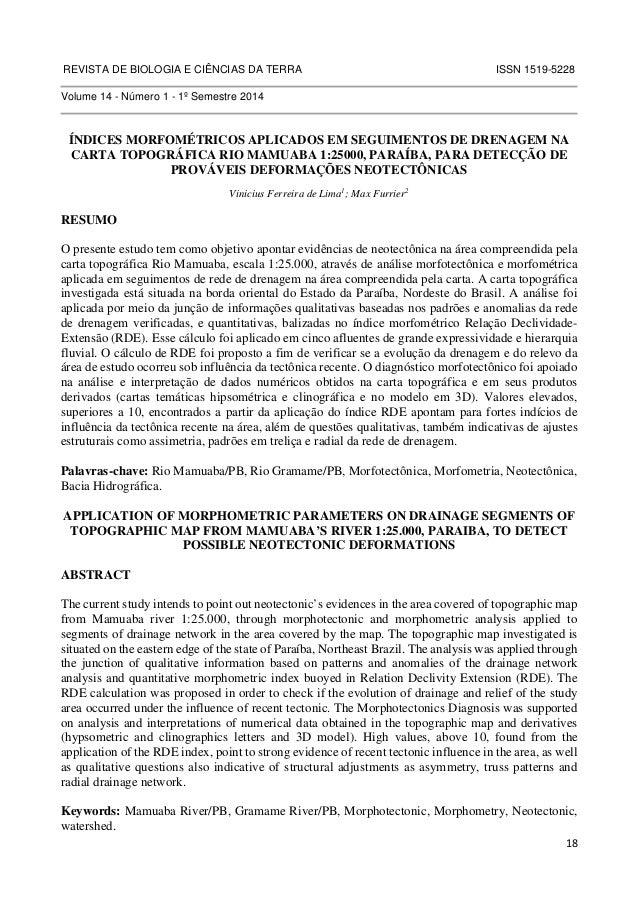 REVISTA DE BIOLOGIA E CIÊNCIAS DA TERRA ISSN 1519-5228  18  Volume 14 - Número 1 - 1º Semestre 2014  ÍNDICES MORFOMÉTRICOS...