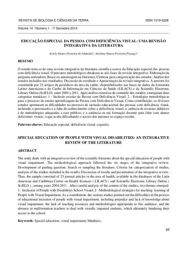REVISTA DE BIOLOGIA E CIÊNCIAS DA TERRA ISSN 1519-5228  69  Volume 14 - Número 1 - 1º Semestre 2014  EDUCAÇÃO ESPECIAL DA ...