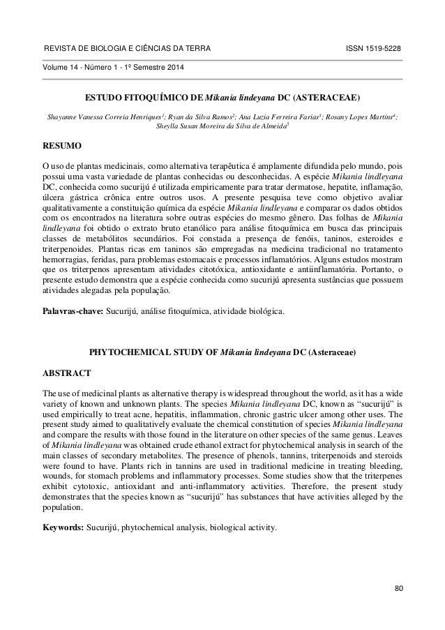 REVISTA DE BIOLOGIA E CIÊNCIAS DA TERRA ISSN 1519-5228  80  Volume 14 - Número 1 - 1º Semestre 2014  ESTUDO FITOQUÍMICO DE...