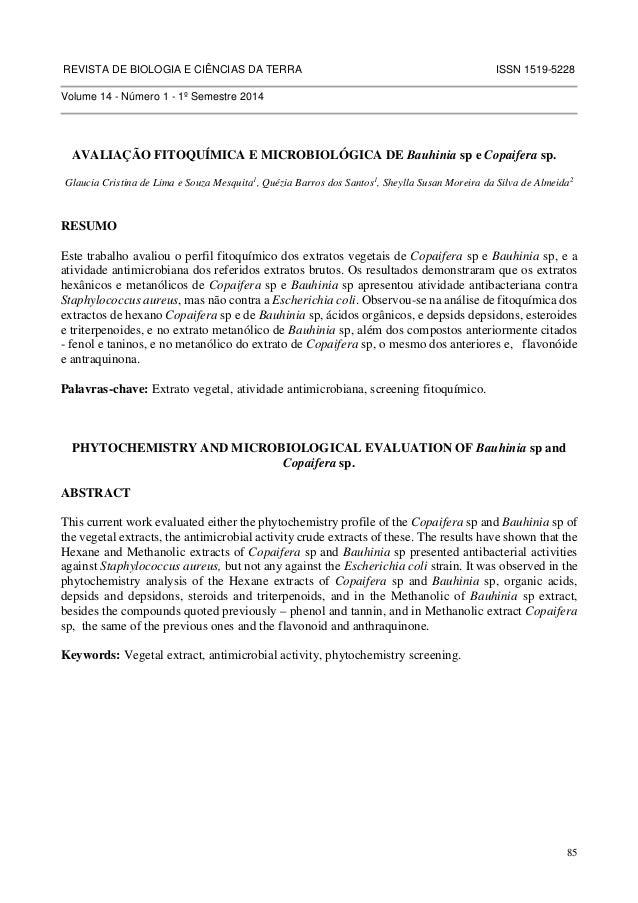 REVISTA DE BIOLOGIA E CIÊNCIAS DA TERRA ISSN 1519-5228  85  Volume 14 - Número 1 - 1º Semestre 2014  AVALIAÇÃO FITOQUÍMICA...