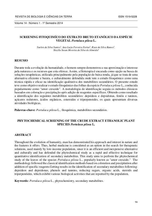 REVISTA DE BIOLOGIA E CIÊNCIAS DA TERRA ISSN 1519-5228  94  Volume 14 - Número 1 - 1º Semestre 2014  SCREENING FITOQUIMÍCO...