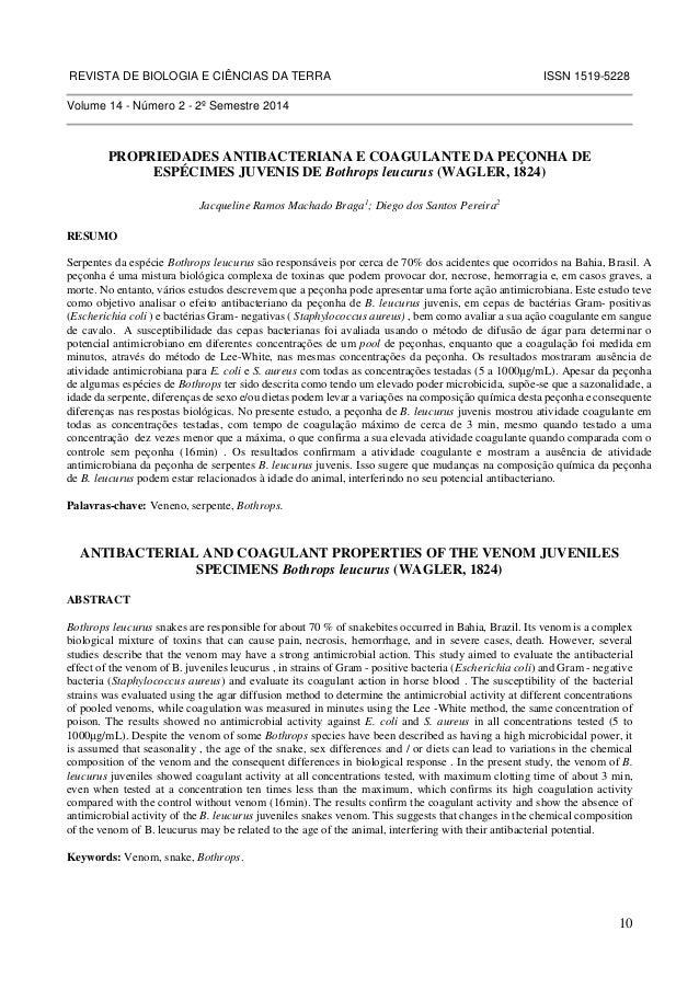REVISTA DE BIOLOGIA E CIÊNCIAS DA TERRA ISSN 1519-5228  10  Volume 14 - Número 2 - 2º Semestre 2014  PROPRIEDADES ANTIBACT...