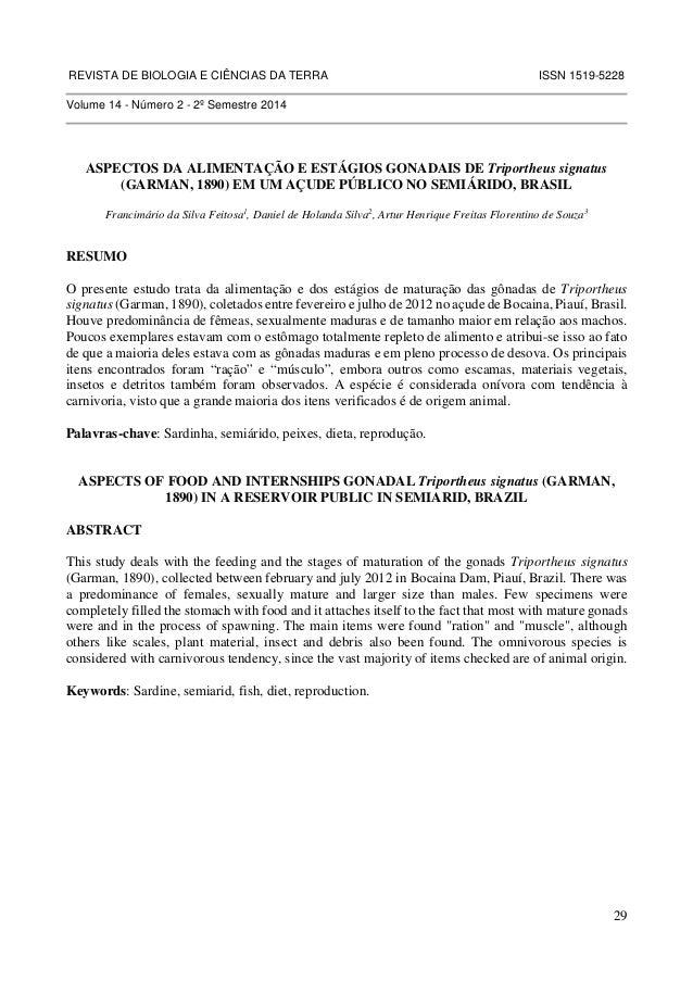 REVISTA DE BIOLOGIA E CIÊNCIAS DA TERRA ISSN 1519-5228  29  Volume 14 - Número 2 - 2º Semestre 2014  ASPECTOS DA ALIMENTAÇ...