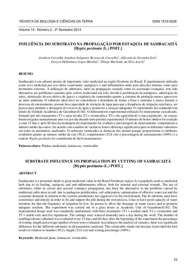 REVISTA DE BIOLOGIA E CIÊNCIAS DA TERRA ISSN 1519-5228  51  Volume 14 - Número 2 - 2º Semestre 2014  INFLUÊNCIA DO SUBSTRA...
