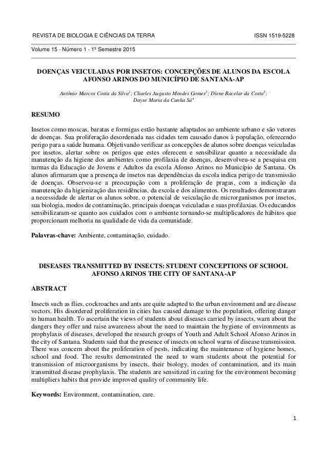 REVISTA DE BIOLOGIA E CIÊNCIAS DA TERRA ISSN 1519-5228  1  Volume 15 - Número 1 - 1º Semestre 2015  DOENÇAS VEICULADAS POR...