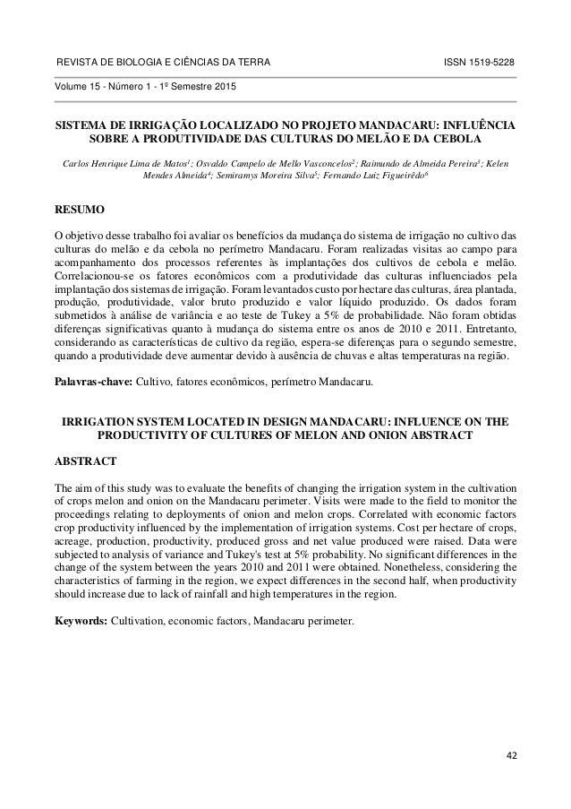 REVISTA DE BIOLOGIA E CIÊNCIAS DA TERRA ISSN 1519-5228  42  Volume 15 - Número 1 - 1º Semestre 2015  SISTEMA DE IRRIGAÇÃO ...