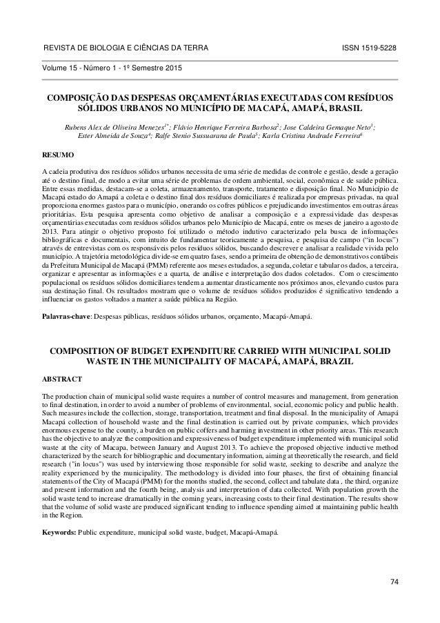 REVISTA DE BIOLOGIA E CIÊNCIAS DA TERRA ISSN 1519-5228  74  Volume 15 - Número 1 - 1º Semestre 2015  COMPOSIÇÃO DAS DESPES...