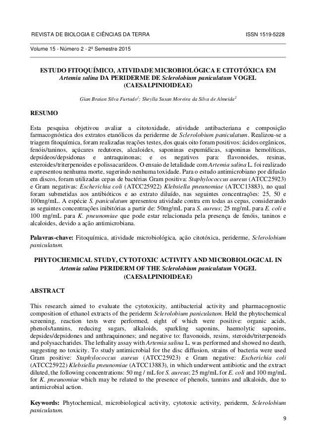 REVISTA DE BIOLOGIA E CIÊNCIAS DA TERRA ISSN 1519-5228  9  Volume 15 - Número 2 - 2º Semestre 2015  ESTUDO FITOQUÍMICO, AT...