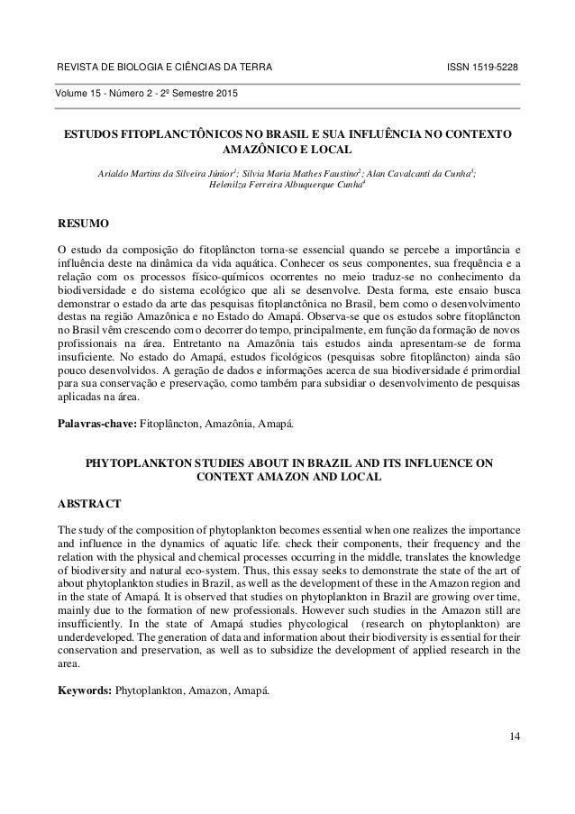 REVISTA DE BIOLOGIA E CIÊNCIAS DA TERRA ISSN 1519-5228  14  Volume 15 - Número 2 - 2º Semestre 2015  ESTUDOS FITOPLANCTÔNI...