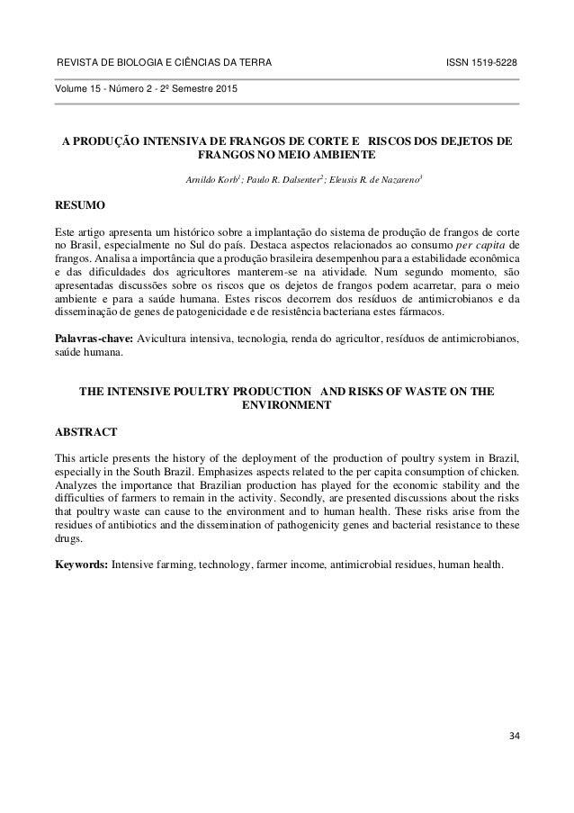 REVISTA DE BIOLOGIA E CIÊNCIAS DA TERRA ISSN 1519-5228  34  Volume 15 - Número 2 - 2º Semestre 2015  A PRODUÇÃO INTENSIVA ...