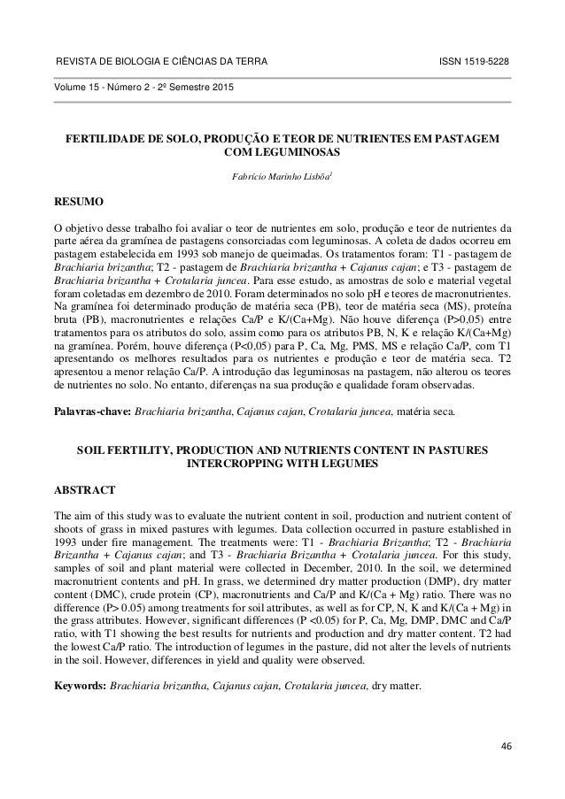 REVISTA DE BIOLOGIA E CIÊNCIAS DA TERRA ISSN 1519-5228  46  Volume 15 - Número 2 - 2º Semestre 2015  FERTILIDADE DE SOLO, ...