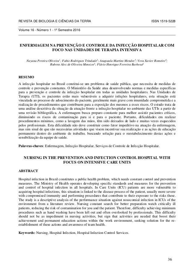 REVISTA DE BIOLOGIA E CIÊNCIAS DA TERRA ISSN 1519-5228 Volume 16 - Número 1 - 1º Semestre 2016 ENFERMAGEM NA PREVENÇÃO E C...