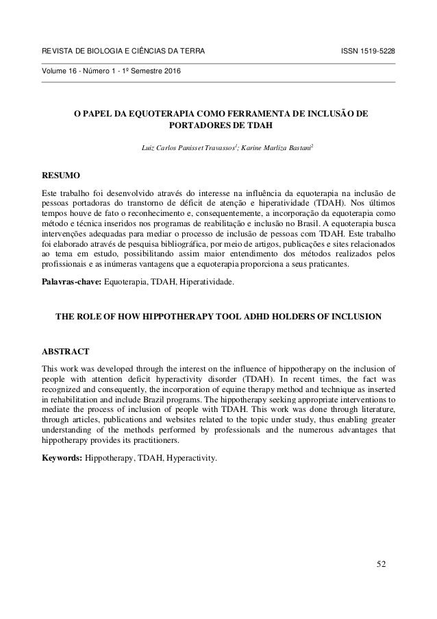 REVISTA DE BIOLOGIA E CIÊNCIAS DA TERRA ISSN 1519-5228 Volume 16 - Número 1 - 1º Semestre 2016 O PAPEL DA EQUOTERAPIA COMO...