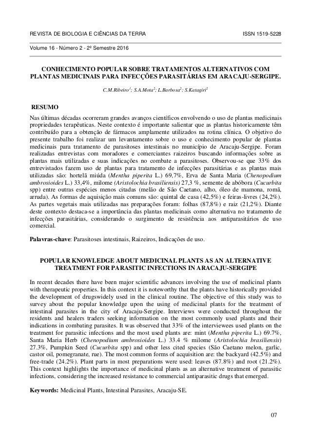 REVISTA DE BIOLOGIA E CIÊNCIAS DA TERRA ISSN 1519-5228 Volume 16 - Número 2 - 2º Semestre 2016 CONHECIMENTO POPULAR SOBRE ...