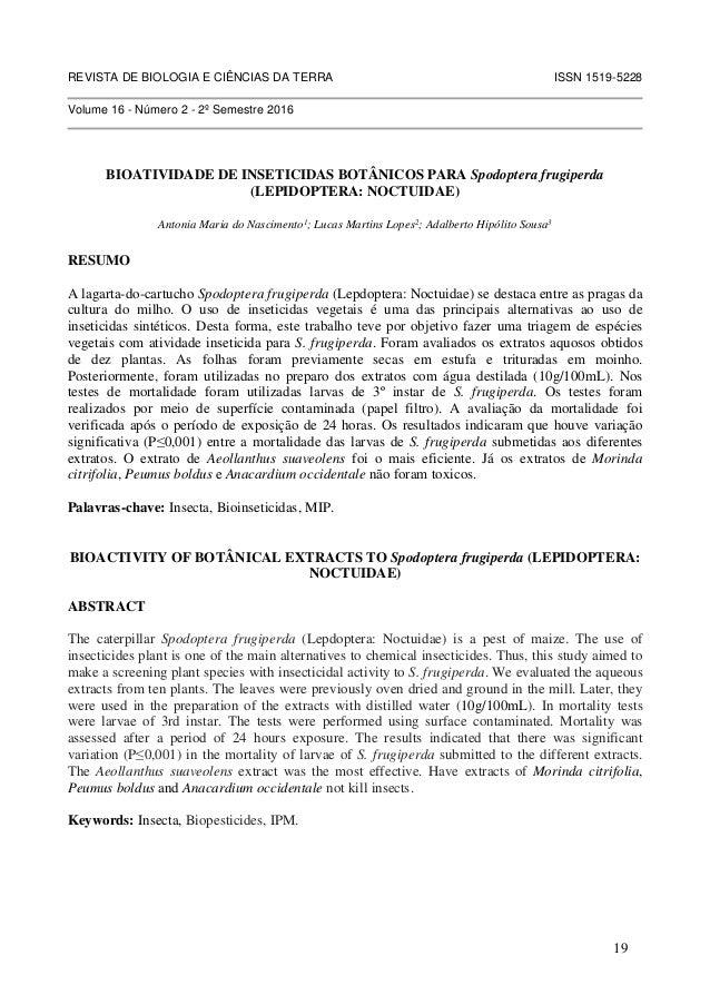 REVISTA DE BIOLOGIA E CIÊNCIAS DA TERRA ISSN 1519-5228 Volume 16 - Número 2 - 2º Semestre 2016 BIOATIVIDADE DE INSETICIDAS...