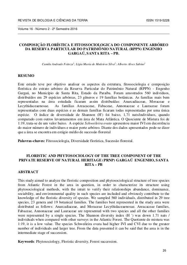 REVISTA DE BIOLOGIA E CIÊNCIAS DA TERRA ISSN 1519-5228 Volume 16 - Número 2 - 2º Semestre 2016 COMPOSIÇÃO FLORÍSTICA E FIT...