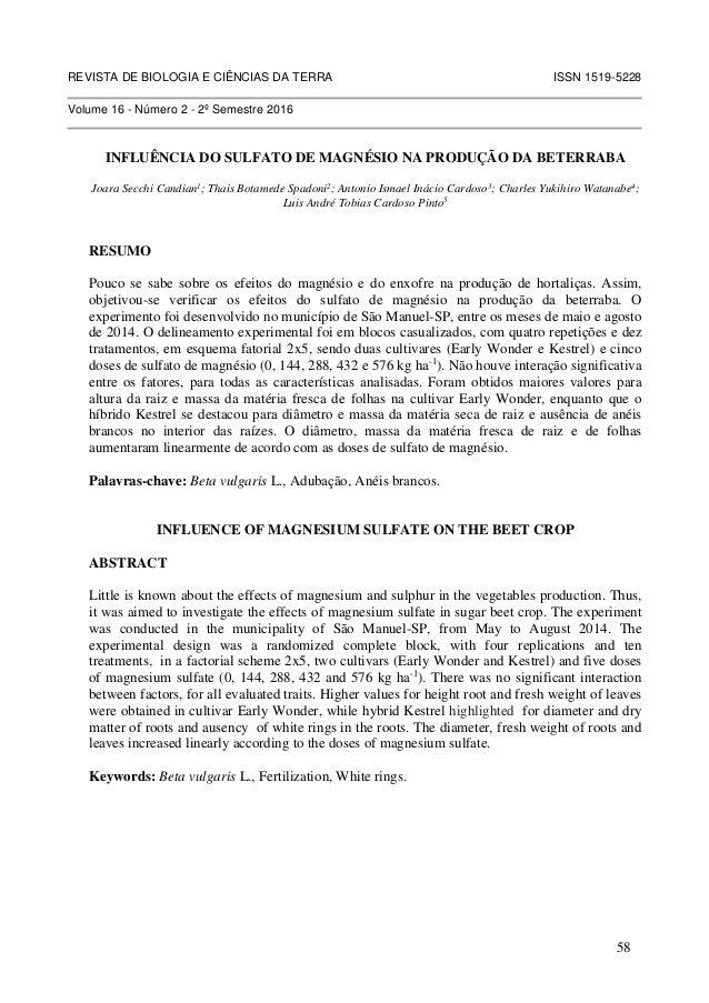 REVISTA DE BIOLOGIA E CIÊNCIAS DA TERRA ISSN 1519-5228 Volume 16 - Número 2 - 2º Semestre 2016 INFLUÊNCIA DO SULFATO DE MA...