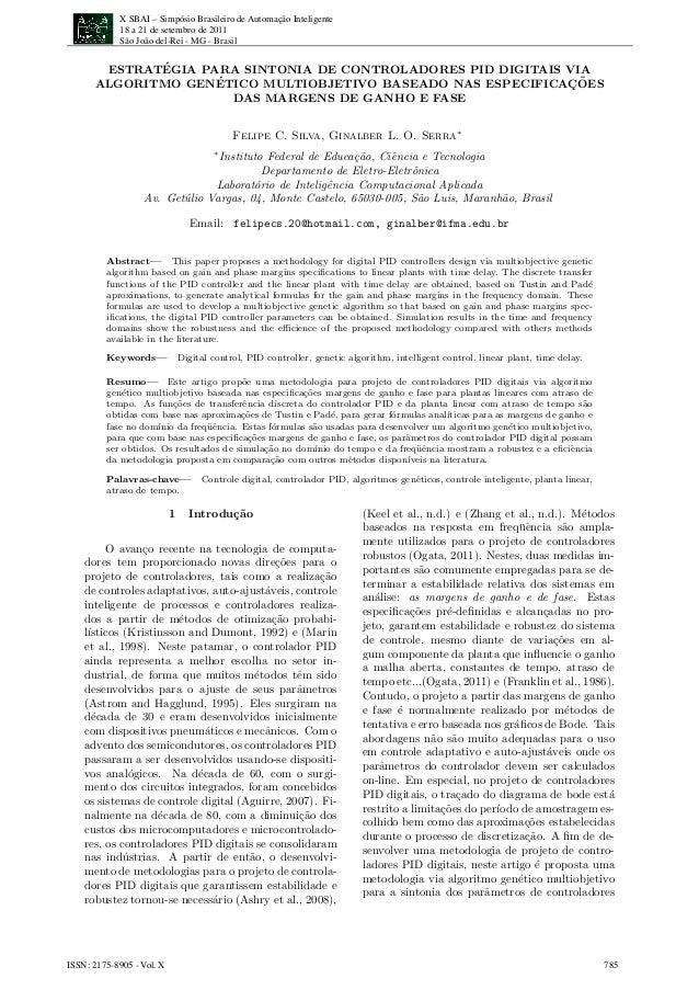 X SBAI – Simpósio Brasileiro de Automação Inteligente 18 a 21 de setembro de 2011 São João del-Rei - MG - Brasil ISSN: 217...