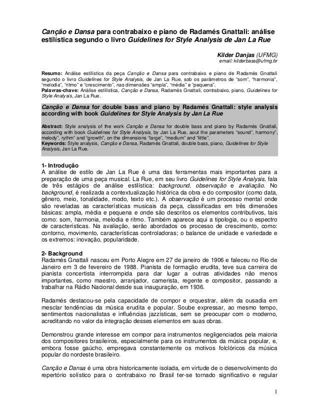 Canção e Dansa para contrabaixo e piano de Radamés Gnattali: análise  estilística segundo o livro Guidelines for Style Ana...