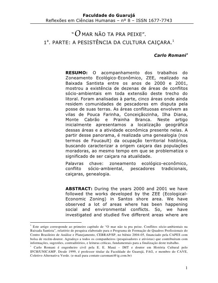 """Faculdade do Guarujá           Reflexões em Ciências Humanas – nº 8 – ISSN 1677-7743                               """"   O M..."""