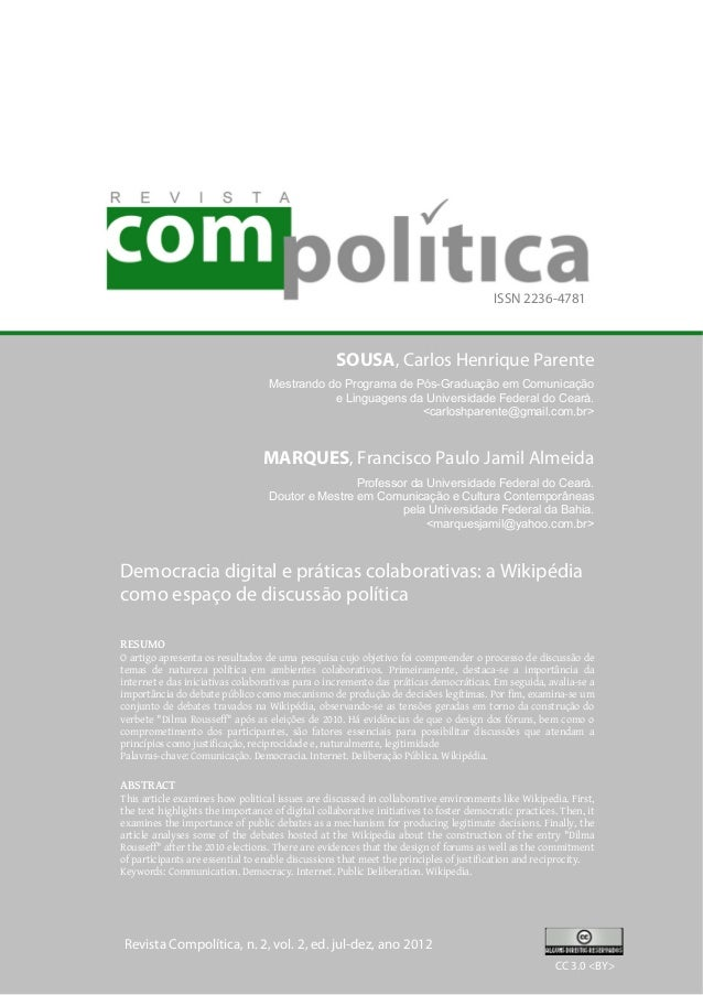 ISSN 2236-4781  SOUSA, Carlos Henrique Parente  Mestrando do Programa de Pós-Graduação em Comunicação  e Linguagens da Uni...