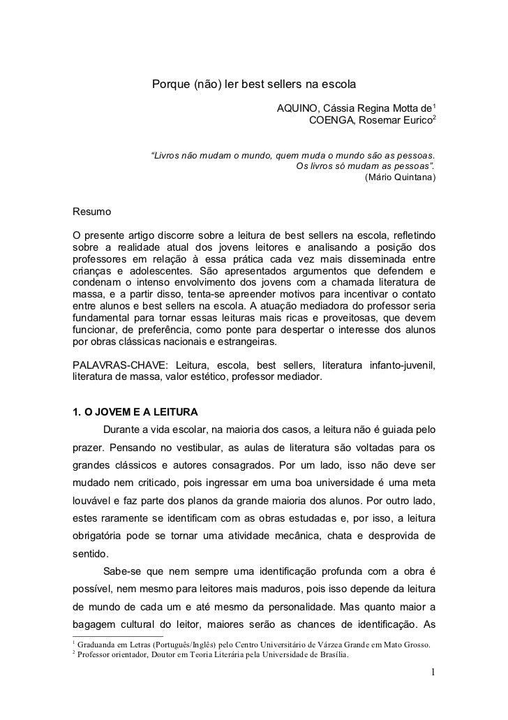 Porque (não) ler best sellers na escola                                                          AQUINO, Cássia Regina Mot...