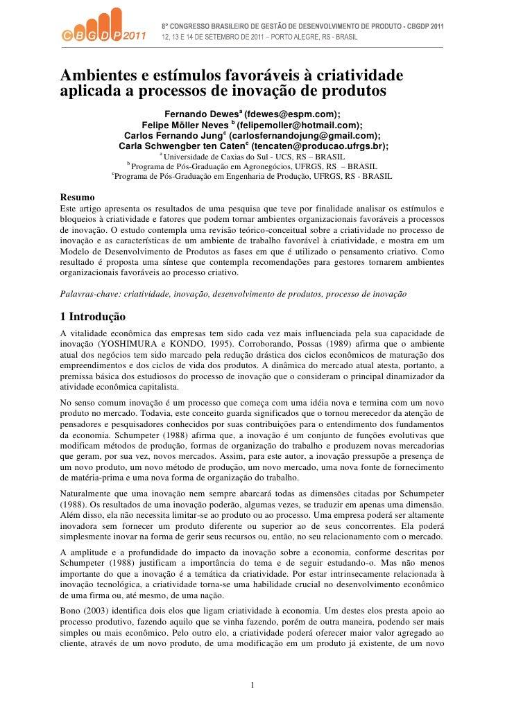 Ambientes e estímulos favoráveis à criatividadeaplicada a processos de inovação de produtos                         Fernan...