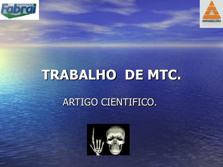 TRABALHO  DE MTC. ARTIGO CIENTIFICO.