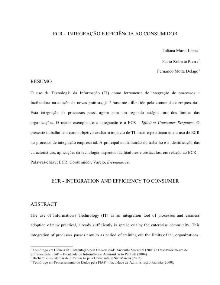 ECR – INTEGRAÇÃO E EFICIÊNCIA AO CONSUMIDOR                                                                               ...