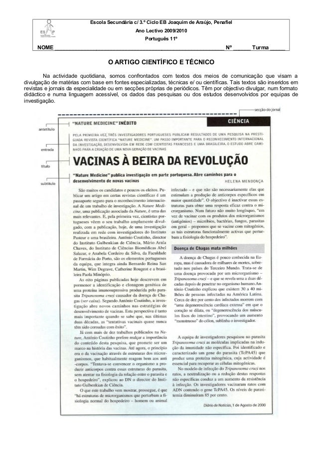 Escola Secundária c/ 3.º Ciclo EB Joaquim de Araújo, Penafiel Ano Lectivo 2009/2010 Português 11º NOME ___________________...