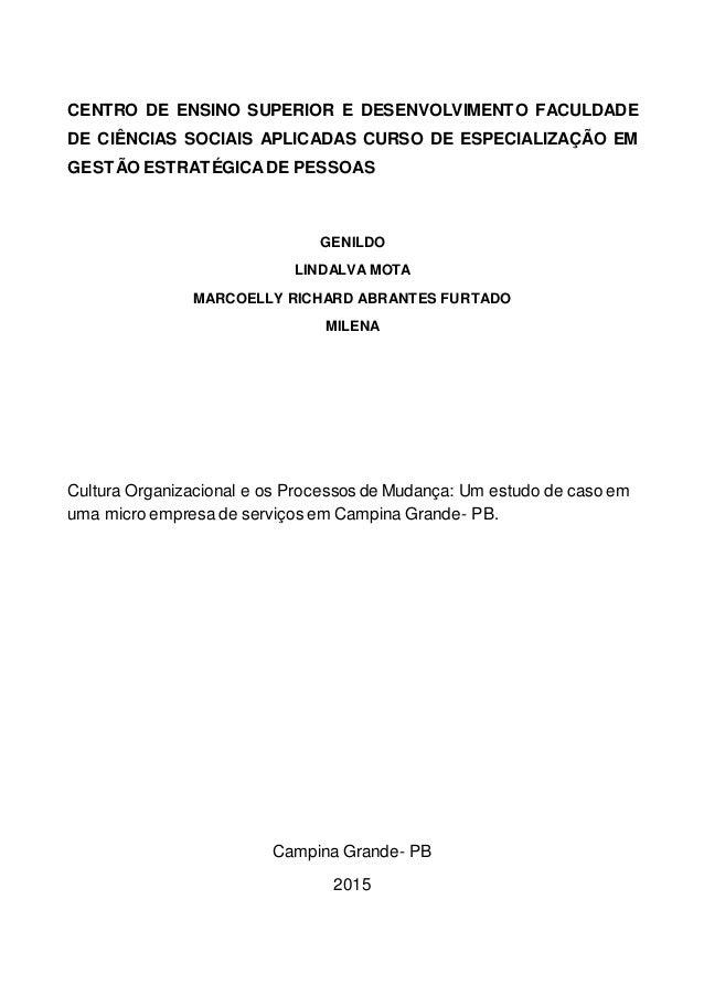 CENTRO DE ENSINO SUPERIOR E DESENVOLVIMENTO FACULDADE DE CIÊNCIAS SOCIAIS APLICADAS CURSO DE ESPECIALIZAÇÃO EM GESTÃO ESTR...