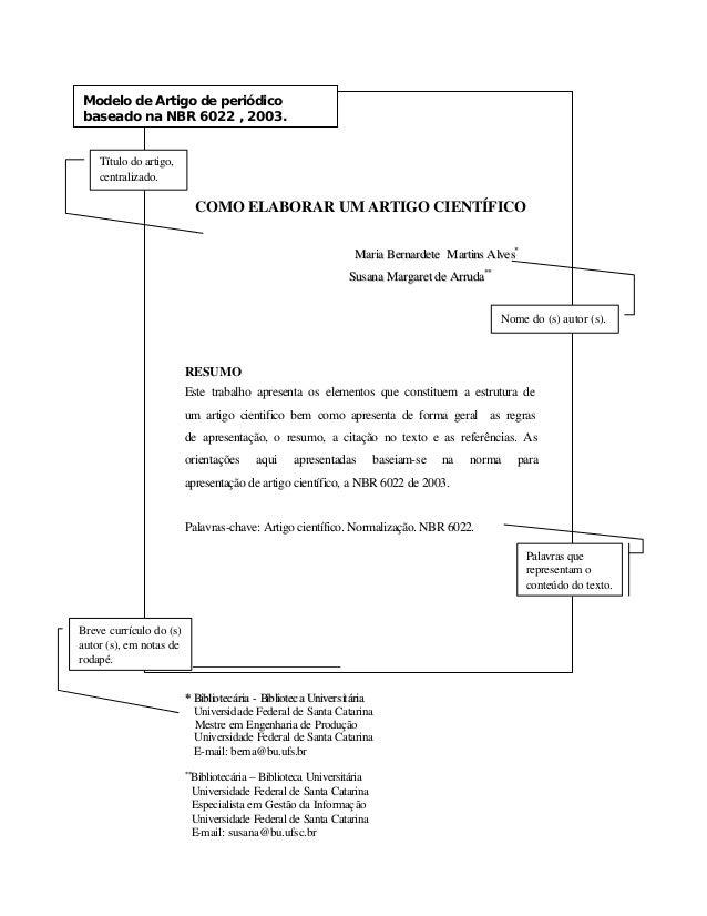 Modelo de Artigo de periódico  baseado na NBR 6022 , 2003.  COMO ELABORAR UM ARTIGO CIENTÍFICO  Maarriiaa Beerrnnaarrddeet...