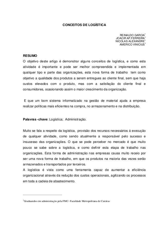 CONCEITOS DE LOGÍSTICA                                                                                                   1...